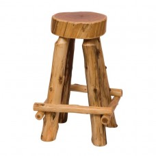 Outside Leg Rests Cedar Slab Counter Stool