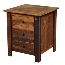 Barnwood Legs Three Drawer Nightstand