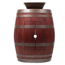 "Square Vessel Sink 14"" Wine Barrel Vanity"