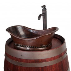 Premier Copper Products Bath Tub Vessel Sink and Vessel Filler Faucet Wine Barrel Vanity