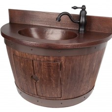 Wall Mounted Wine Barrel Vanity