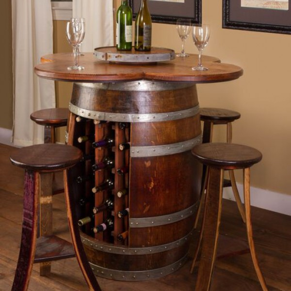Wine Barrel Table Set With Wine Bottle Rack