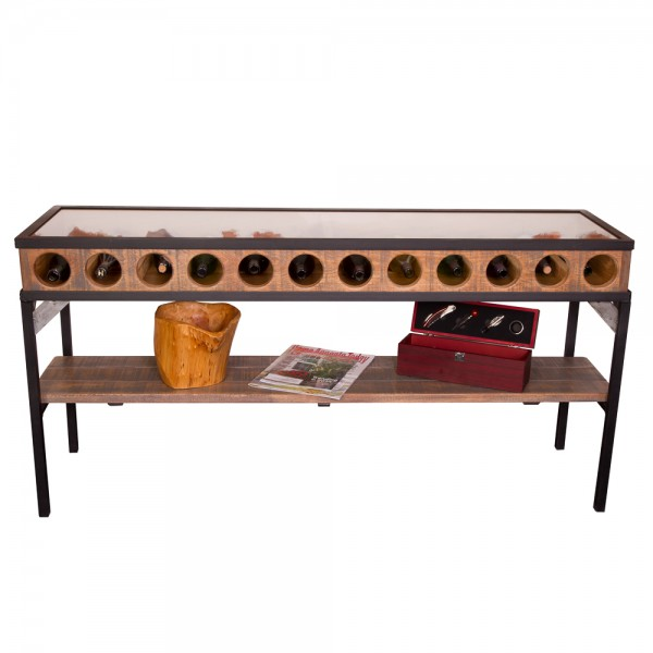Glass Top Console Table Wine Rack