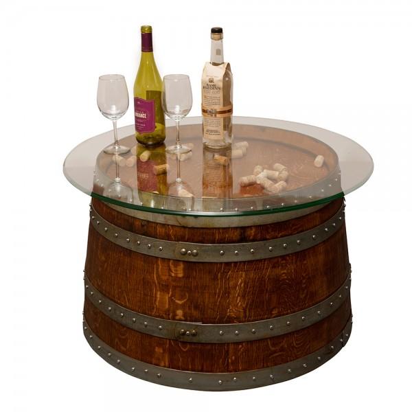 Glass Top Half Barrel Coffee Table Napa East