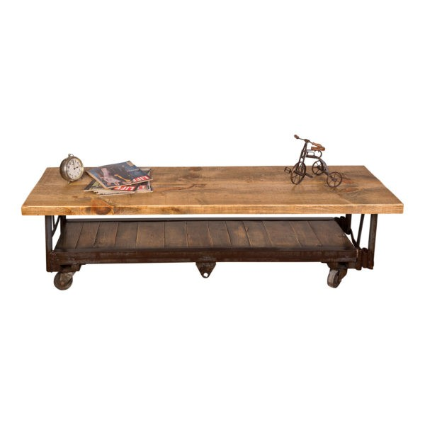 Industrial Coffee Table with Plank Shelf Napa East