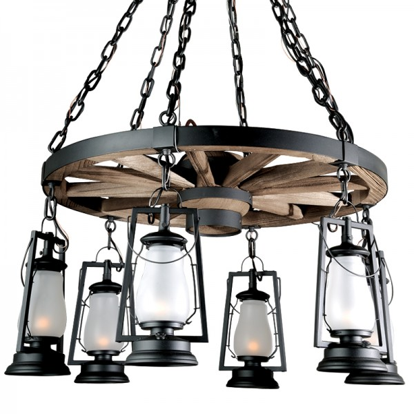 6 Lamp Wagon Wheel Chandeliers