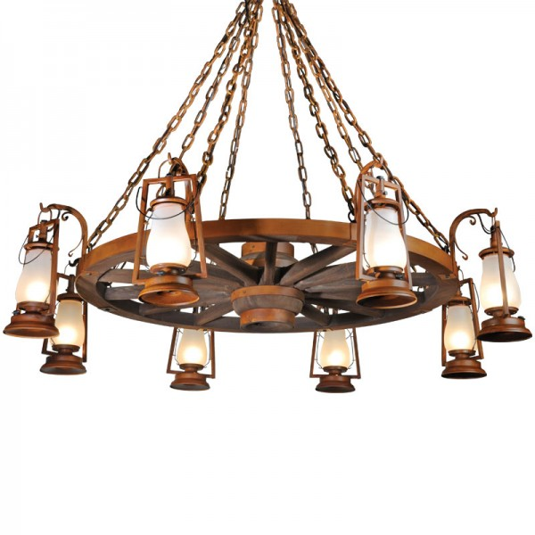 8 Lamp Wagon Wheel Chandeliers