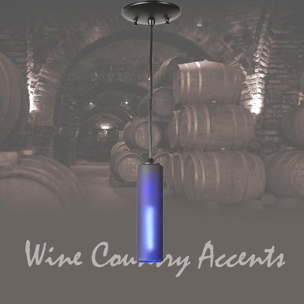 99428 Venice Frosted Blue Wine Bottle Mini Pendant