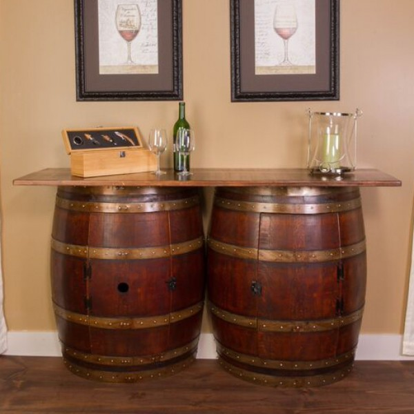Double Half Barrel Bar Wall Mount Napa East Wine Country