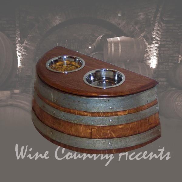 Wine Barrel Dog Food Dish