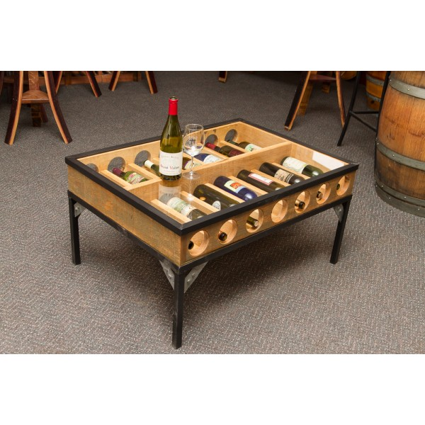 Lovely Glass Top Coffee Table Wine Rack