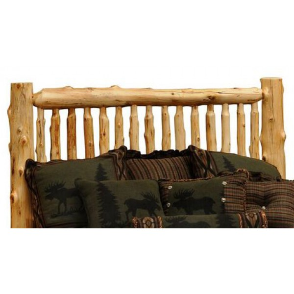 Small Spindle Log Bed Headboard