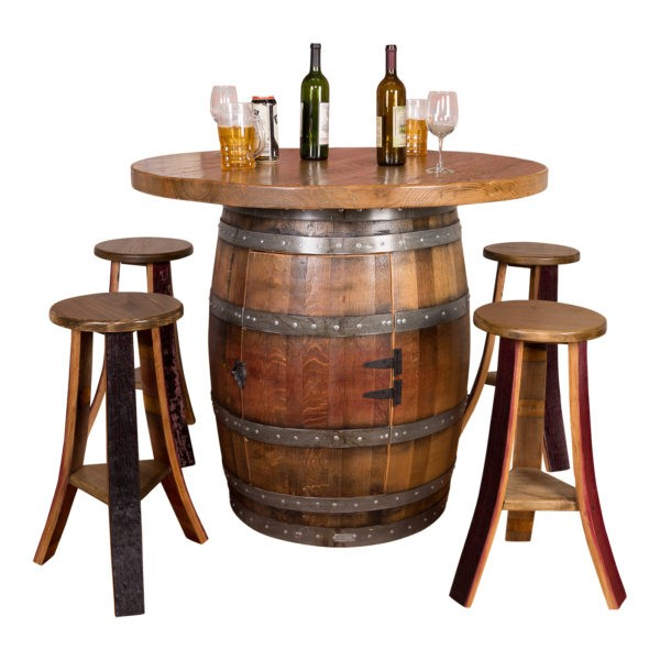Wine Barrel Round Top Table Set Napa East