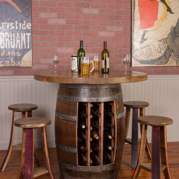 Wine Barrel Round Top Wine Rack Base Table Set Wine