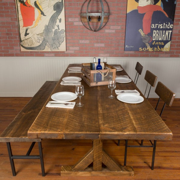 1126 Industrial Reclaimed Wood Farm Table