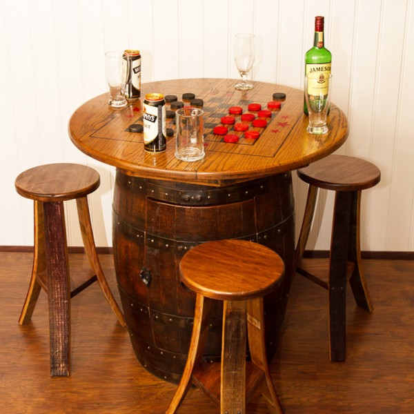Whiskey Barrel Game Table Napa East Collection