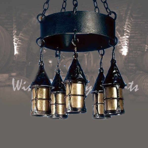 LF199 Cottage 5 Lantern Chandelier