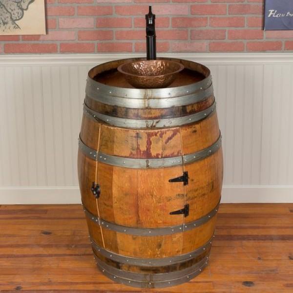 1123 Wine Barrel Hammered Copper Vessel Sink Napa East