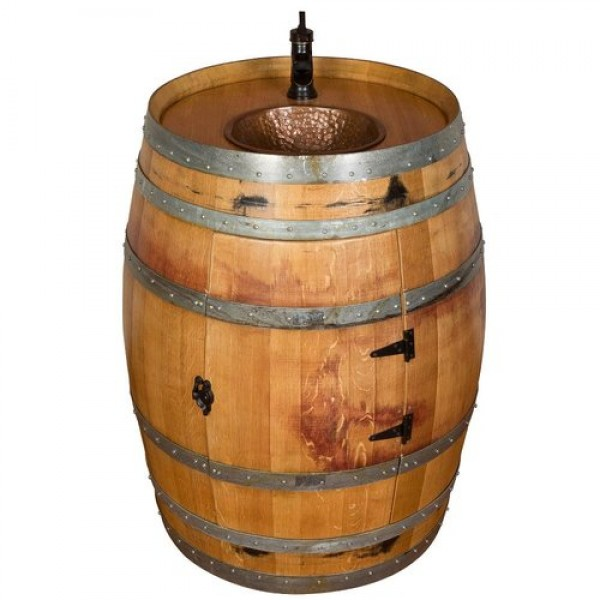 1121 Wine Barrel Inset Hammered Copper Sink Napa East