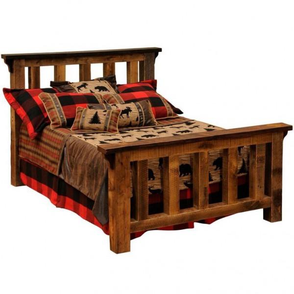 Barnwood Post Slat Bed Fireside Lodge