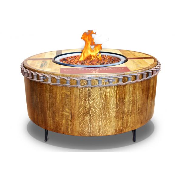 "40"" Smooth Moderna Wine Barrel Fire Pit Vin De Flame S"
