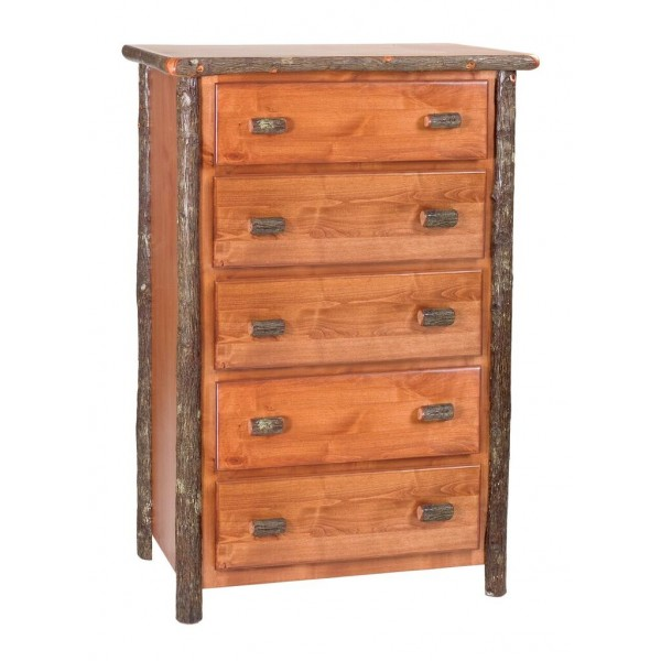 Hickory Five Drawer Chest Rustic Alder