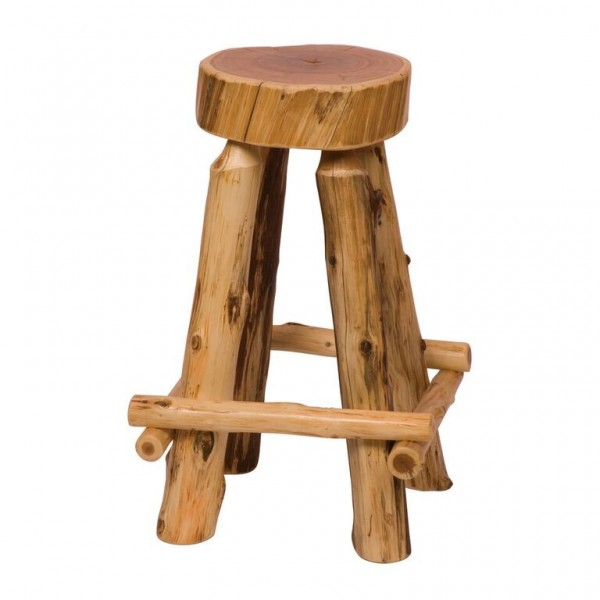 Outside Leg Rests Cedar Slab Counter Stool