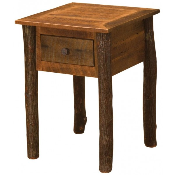 Hickory legs One Drawer Nightstand