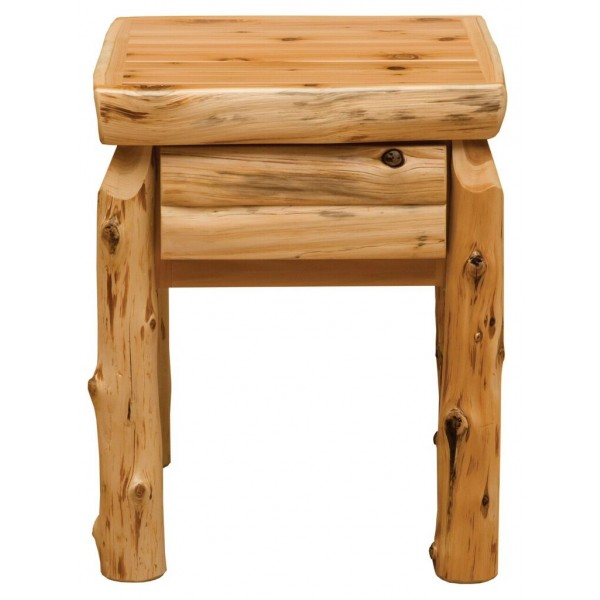 Fireside Cedar Half Log Drawer Front Nightstand
