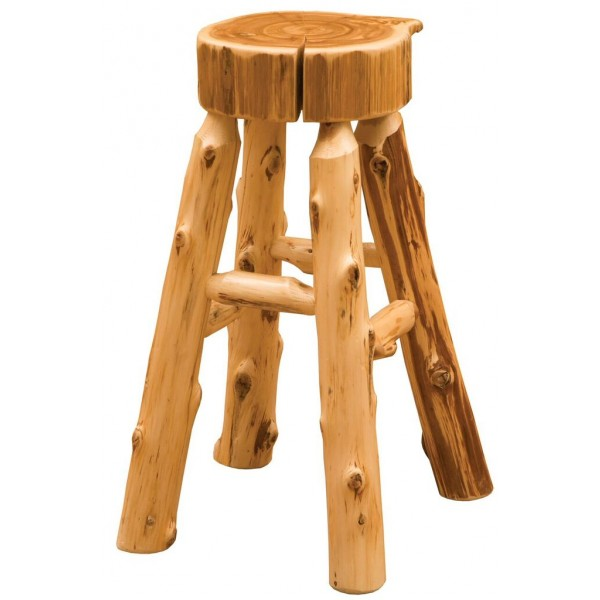 Cedar Slab Counter Stool Fireside