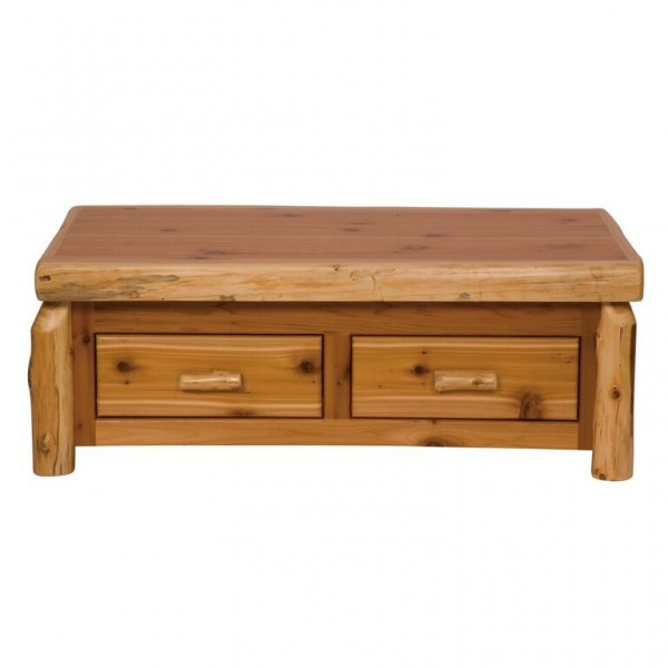 Cedar Enclosed Coffee Table with Three Drawers