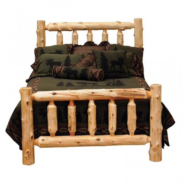 Traditional Cedar Log Bed Fireside
