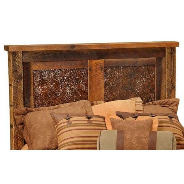 Barnwood Copper Inset Bed Headboard
