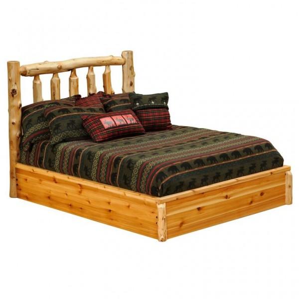 Fireside Lodge Cedar Traditional Log Platform Bed