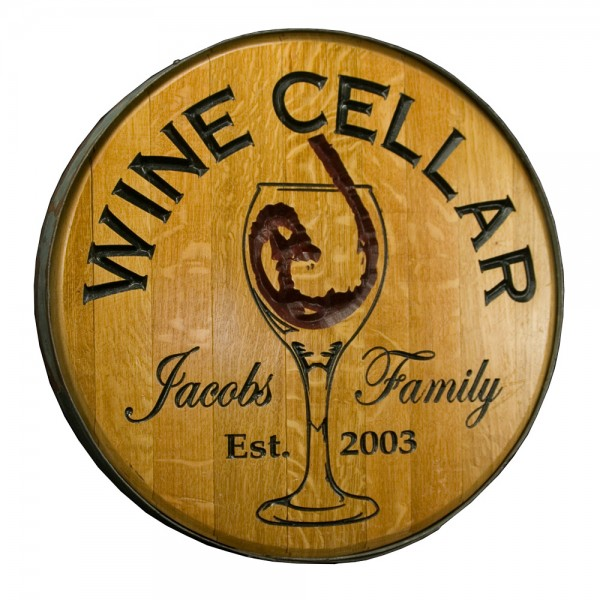 Chiseled Glass Wine Barrel Head